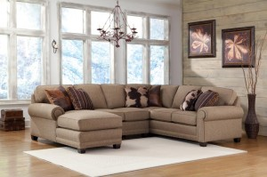 393 Sectional with nailhead detail on the front arm panels