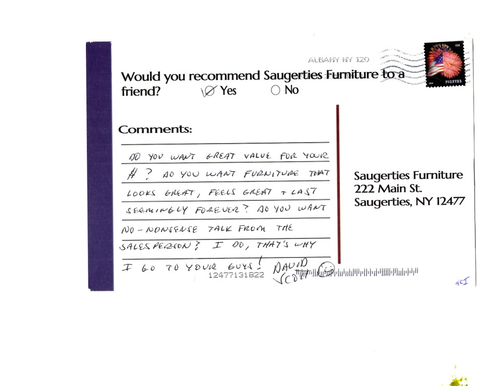 Click here to read more reviews from satisfied Saugerties Furniture Mart customers.