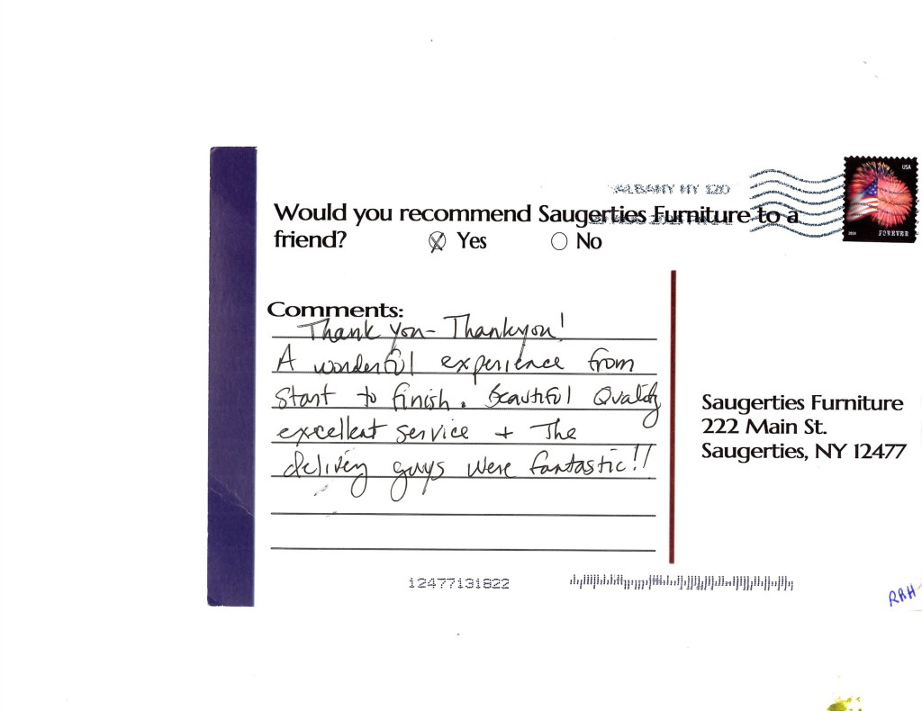 See more testimonials from other Saugerties Furniture Mart Customers by clicking on the post card.